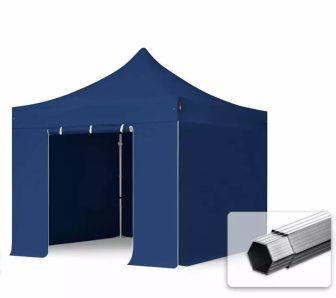 Professional összecsukható sátrak PROFESSIONAL 400g/m2 ponyvával, alumínium szerkezettel, 4 oldalfallal, ablak nélkül -  3x3m sötétkék