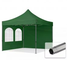 Professional összecsukható sátrak PREMIUM 350g/m2 ponyvával, acélszerkezettel, 2 oldalfallal, hagyományos ablakkal - 3x3m zöld