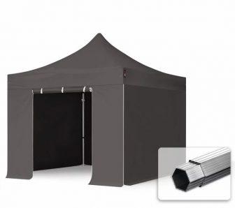 Professional összecsukható sátrak PROFESSIONAL 400g/m2 ponyvával, alumínium szerkezettel, 4 oldalfallal, ablak nélkül - 3x3m sötétszürke