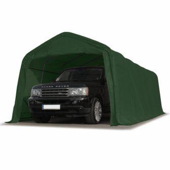 Ponyvagarázs/ sátorgarázs / tároló 3,3x7,2m -PVC 550g/nm zöld színben viharvédelmi szettel földhöz