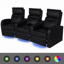 VID 3 személyes műbőr kanapé LED fénnyel fekete