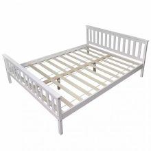 VID fehér tömör fenyő ágykeret 160 x 200cm, ágyráccsal