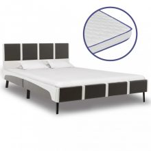 VID szürke és fehér műbőr ágy memóriahabos matraccal 140x200 cm