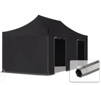 Professional összecsukható sátrak PREMIUM 350g/m2 ponyvával, acélszerkezettel, 4 oldalfallal, ablak nélkül - 3x6m fekete