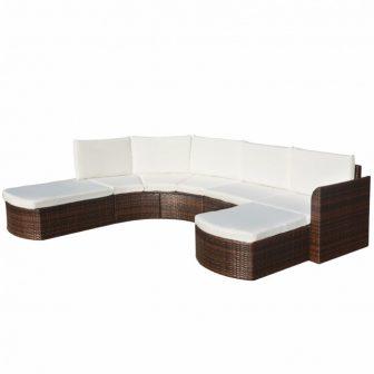 VID 6 részes polyrattan kerti bútor barna 497610