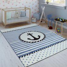 Gyerekszoba szőnyeg - tengerész mintával- kék-fehér színben - több választható méretben