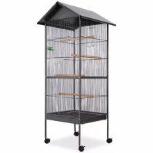 VID fekete acél madárkalitka tetővel 66 x 66 x 155cm 499823