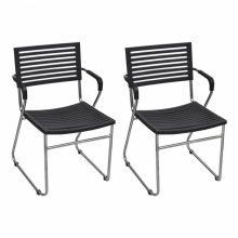 12 db egymásba rakható szék fekete színben