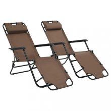 VID 2 db barna összecsukható acél napozóágy lábtartóval
