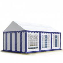 TP Professional deluxe 3x6m nehéz acélkonstrukciós rendezvénysátor erősített tetőszerkezettel kék-fehér ponyvával