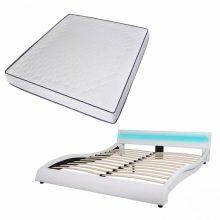 """VID PU bőr ágy 180x200 cm """"V20"""" memóriahabos matraccal, LED világítással, fehér színben"""