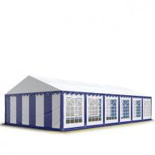 TP Professional deluxe 6x12m nehéz acélkonstrukciós rendezvénysátor erősített tetőszerkezettel kék-fehér tűzálló ponyvával