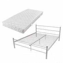 """VID Fém ágy 180x200 cm """"V07"""", matraccal, szürke színben"""