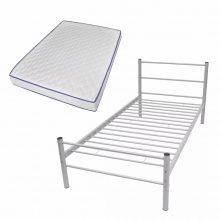 """VID Fém ágy 90x200 cm """"V07"""", memóriahabos matraccal, szürke színben"""