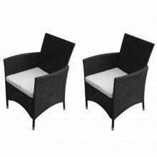 2 db polyrattan kerti szék fekete színben