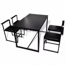 Étkező garnitúra 1 asztal, 4 szék Fekete szín