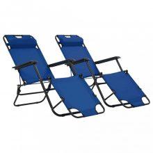 VID 2 db kék összecsukható acél napozóágy lábtartóval