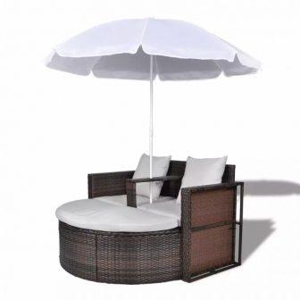 VID Relax szett két személy részére napernyővel barna színben