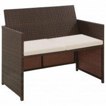 VID kétszemélyes barna polyrattan kanapé 100 x 56 x 85 cm