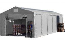 Vario raktársátor 6x12m - 3m oldalmagassággal, tetőablakkal-bejárat típusa: felhúzható