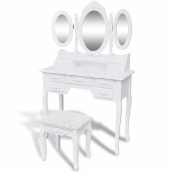 """VID Fésülködőasztal/sminkasztal tükörrel, ülőkével """"01"""""""