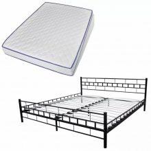 """VID Fém ágy 140x200 cm """"V1"""" memóriahabos matraccal, fekete színben"""