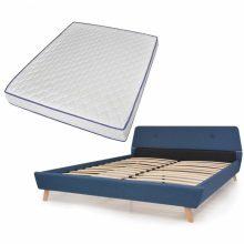 VID Kárpitozott ágy ágyráccsal, memóriahabos matraccal, 160x200 cm, kék színben