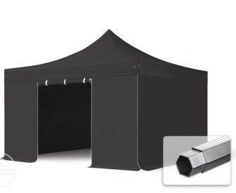 Professional összecsukható sátrak PROFESSIONAL 400g/m2 ponyvával, alumínium szerkezettel, 4 oldalfallal, ablak nélkül - 4x4m fekete