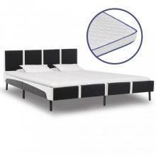 VID fekete és fehér műbőr ágy memóriahabos matraccal 180x200 cm
