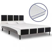 VID fekete és fehér műbőr ágy memóriahabos matraccal 140x200 cm
