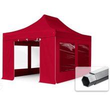 Professional összecsukható sátrak PROFESSIONAL 400g/m2 ponyvával, alumínium szerkezettel, 4 oldalfallal, panoráma ablakkal - 3x4,5m bordó