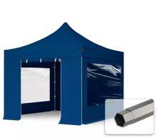Professional összecsukható sátrak PREMIUM 350g/m2 ponyvával, acélszerkezettel, 4 oldalfallal, panoráma ablakkal - 3x3m sötétkék