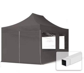 Professional összecsukható sátrak ECO 300g/m2 ponyvával, acélszerkezettel, 4 oldalfallal, panoráma ablakkal - 3x4,5m sötétszürke