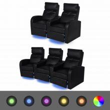 """VID 2 db dönthető támlájú LED fénnyel ellátott kanapé """"V4"""" fekete"""