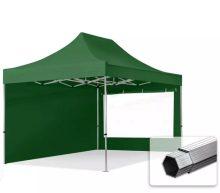 Professional összecsukható sátrak PROFESSIONAL 400g/m2 ponyvával, alumínium szerkezettel, 2 oldalfallal, panoráma ablakkal - 3x4,5m zöld