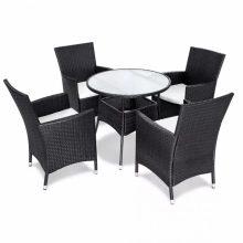 4 személyes 9 részes polyrattan kerti bútorgarnitúra fekete színben