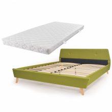 VID Kárpitozott ágy ágyráccsal, matraccal, 160x200 cm, zöld színben