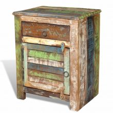 VID Többszínű újrahasznosított fa szekrény egy fiókkal egy ajtóval