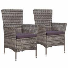 VID 2 db szürke kültéri polyrattan fotel étkezőszék 58 x 61 x 88 cm