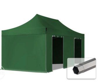 Professional összecsukható sátrak PREMIUM 350g/m2 ponyvával, acélszerkezettel, 4 oldalfallal, ablak nélkül - 3x6m zöld
