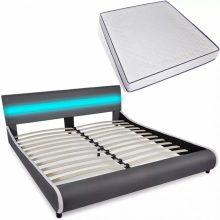 """PU bőr ágy 180x200 cm """"V11"""" memóriahabos matraccal, LED világítással, szürke színben"""