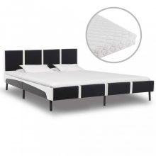 VID fekete és fehér műbőr ágy matraccal 160x200 cm