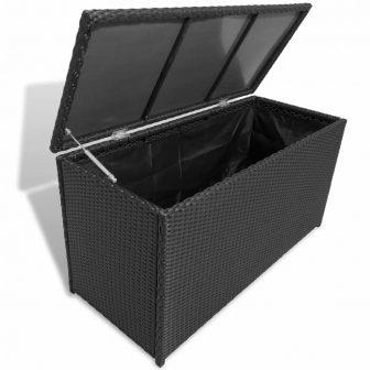 VID Kerti polyrattan tárolóláda - fekete