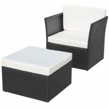 5 részes polyrattan kerti szék szett fekete színben