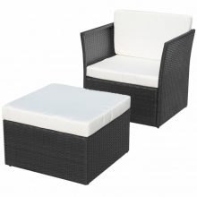 VID 5 részes polyrattan kerti szék szett fekete színben