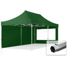 Professional összecsukható sátrak PROFESSIONAL 400g/m2 ponyvával, alumínium szerkezettel, 2 oldalfallal, panoráma ablakkal - 3x6m zöld
