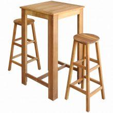 VID 3 részes tömör akácfa bárasztal és bárszék garnitúra