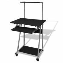 Kompakt íróasztal kihúzható billentyűzet tálcával, polccal, fekete színben