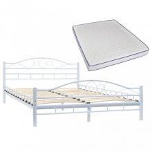VID hullámmintás fehér fém ágy memóriahabos matraccal 140x200 cm
