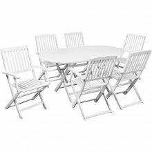 6 személyes - 7 részes akácfa kerti bútor fehér